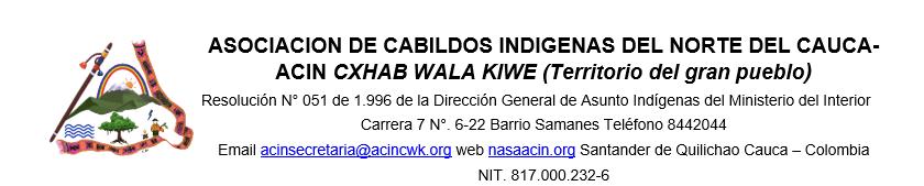 Asociación de Cabildos Indígenas del Norte del Cauca ACIN Tejido Educación.
